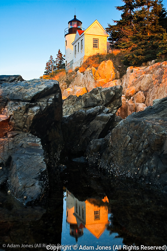Bass Harbor Head lighthouse reflected in pool of water, Acadia National Park, Maine