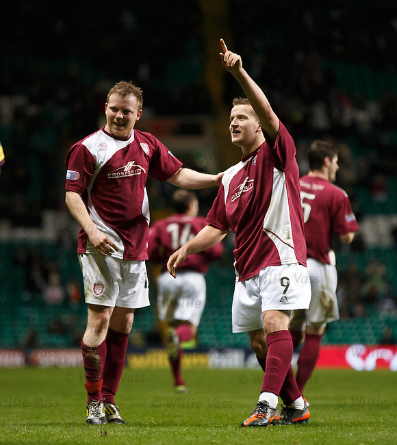 Arbroath's Steven Doris celebrates after scoring from a free-kick