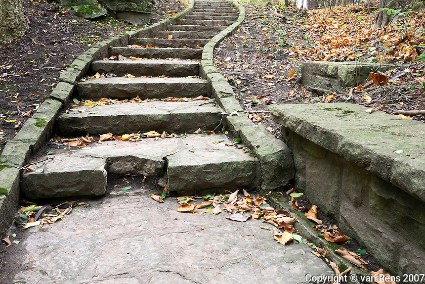 Park old stone staircase form a WPA project in the 1930's.