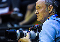 Photographer Martin Hunter shoots the ANZ Championship netball match between the Central Pulse and Waikato Bay Of Plenty Magic at TSB Bank Arena, Wellington, New Zealand on Monday, 4 April 2016. Photo: Dave Lintott / lintottphoto.co.nz