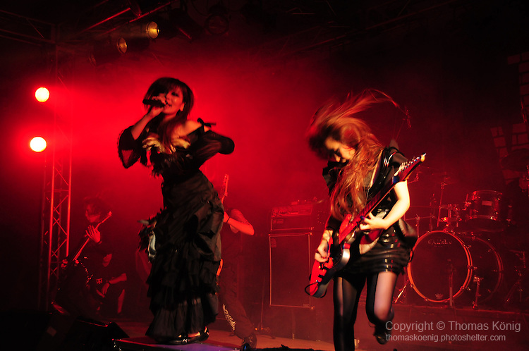 Kaohsiung, Taiwan -- Singer TWIN and guitarist MAY of the Japanese metal band SOUNDWITCH performing in the 'Kiss Me Kill Me 2011 Tour' at The Wall Live House (Pier 2).