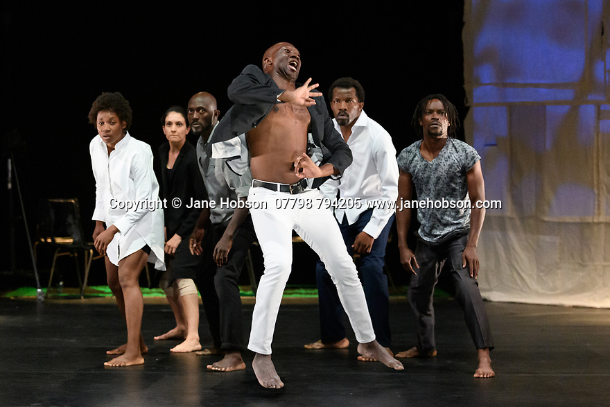 "Edinburgh, UK. 08.08.2019. Faso Danse Theatre/ Serge Aime Coulibaly presents ""Kalakuta Republik"", choreographed by Aerge Aime Coulibaly, at the Royal Lyceum Theatre, as part of the Edinburgh International Festival.  The dancers are: Marion Alzieu, Serge Aime Coulabily, Adonis Nebie, Sayouba Segue, Ahmend Soura, Ida Faho. Photograph © Jane Hobson."