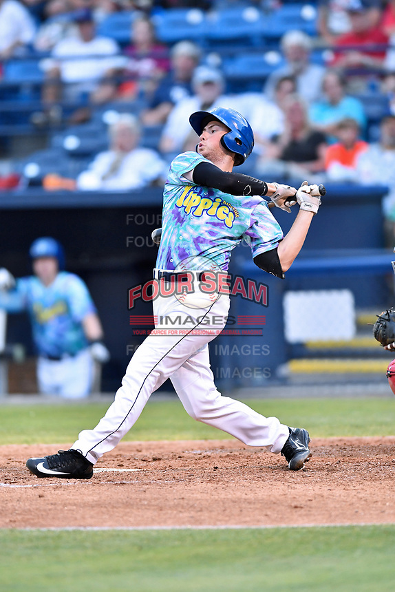 Asheville Hippies designated hitter Bobby Wernes (12) swings at a pitch during a game against the Greenville Drive at McCormick Field on June 29, 2017 in Asheville, North Carolina. The Drive defeated the Tourists 9-6. (Tony Farlow/Four Seam Images)