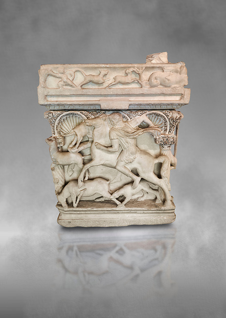 """End panel of a Roman relief sculpted sarcophagus with kline couch lid, """"Columned Sarcophagi of Asia Minor"""" style typical of Sidamara, 3rd Century AD, Konya Archaeological Museum, Turkey."""