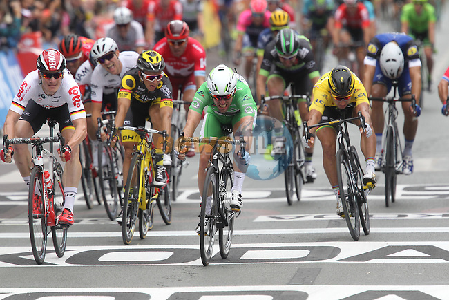 Green Jersey Mark Cavendish (GBR) Dimension Data pips Andre Greipel (GER) Lotto-Soudal by millimetres at the finish line of Stage 3 of the 2016 Tour de France, running 223.5km from Granville to Angers, France . 4th July 2016.<br /> Picture: Heinz Zwicky/Radsport.CH   Newsfile<br /> <br /> <br /> All photos usage must carry mandatory copyright credit (&copy; Newsfile   Heinz Zwicky)