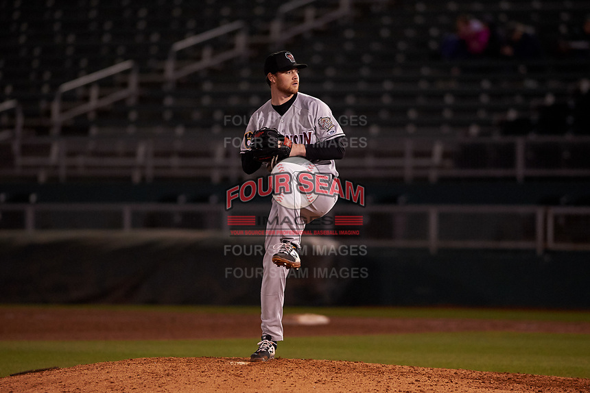 Wisconsin Timber Rattlers relief pitcher Robbie Hits (17) during a Midwest League game against the Lansing Lugnuts at Cooley Law School Stadium on May 1, 2019 in Lansing, Michigan. Wisconsin defeated Lansing 2-1 in the second game of a doubleheader. (Zachary Lucy/Four Seam Images)