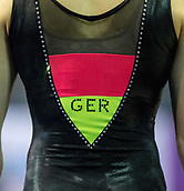 21st March 2018, Arena Birmingham, Birmingham, England; Gymnastics World Cup, day one, womens competition; A view of the GER colours on the leotard of Sarah Voss (GER) during  Training