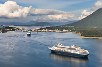 Aerial view of Holland America Cruise ship anchored in Sitka sound, off the coastal community of Sitka, Alaska, on Baranof Island in the Southeast Alaska panhandle.