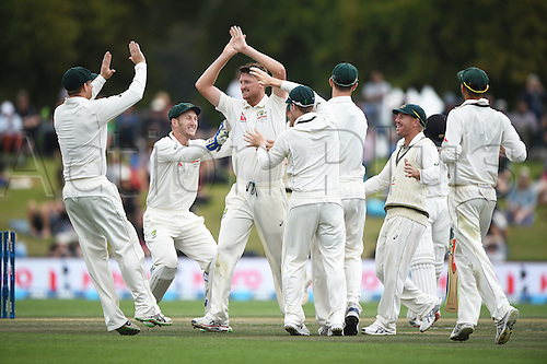 23.02.2016. Christchurch, New Zealand.  Jackson Bird celebrates with team mates the wicket of Williamson on Day 4 of the 2nd test match. New Zealand Black Caps versus Australia. Hagley Oval in Christchurch, New Zealand. Tuesday 23 February 2016.
