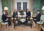 United States President George W. Bush and Mrs. Laura Bush meet with Japanese Prime Minister Shinzo Abe and his wife Mrs. Akie Abe Thursday, April 26, 2007, at the Blair House on Pennsylvania Avenue. Afterwards, the two couples walked to the White House for a social dinner. <br /> Mandatory Credit: Eric Draper / White House via CNP