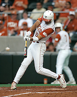 Texas CF Jordan Danks connects on his first of two triples against Texas A&M on May 16th, 2008 in Austin Texas. Photo by Andrew Woolley / Four Seam Images..