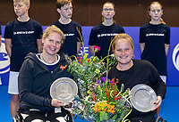 Alphen aan den Rijn, Netherlands, December 16, 2018, Tennispark Nieuwe Sloot, Ned. Loterij NK Tennis, Wheelchair doubles final, runners up: Michaela Spaanstra (NED) (L) and Aniek van Koot (NED)<br /> Photo: Tennisimages/Henk Koster