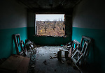 View from the destroyed psychiatric hospital in Semenivka, Donetsk Oblast, eastern Ukraine.<br /> <br /> Devastated in fighting between the Ukrainian army and pro-Russian separatists.