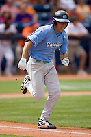 Dustin Ackley #13 of the North Carolina Tar Heels hustles down the first base line versus the Clemson Tigers at Durham Bulls Athletic Park May 23, 2009 in Durham, North Carolina. The Tigers defeated the Tar Heals 4-3 in 11 innings.  (Photo by Brian Westerholt / Four Seam Images)