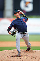 Pitcher Rian Haire (20) of South Caldwell High School in Hudson, North Carolina playing for the Cleveland Indians scout team during the East Coast Pro Showcase on July 28, 2015 at George M. Steinbrenner Field in Tampa, Florida.  (Mike Janes/Four Seam Images)