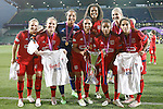 Olympique Lyonnais' Amandine Henry, Eugenie Le Sommer, Sarah Bouhaddi, Louisa Necib, Wendie Renard, Elodie Thomis, Corine Petit and Amel Majri celebrate the victory in the UEFA Women's Champions League 2015/2016 Final match.May 26,2016. (ALTERPHOTOS/Acero)