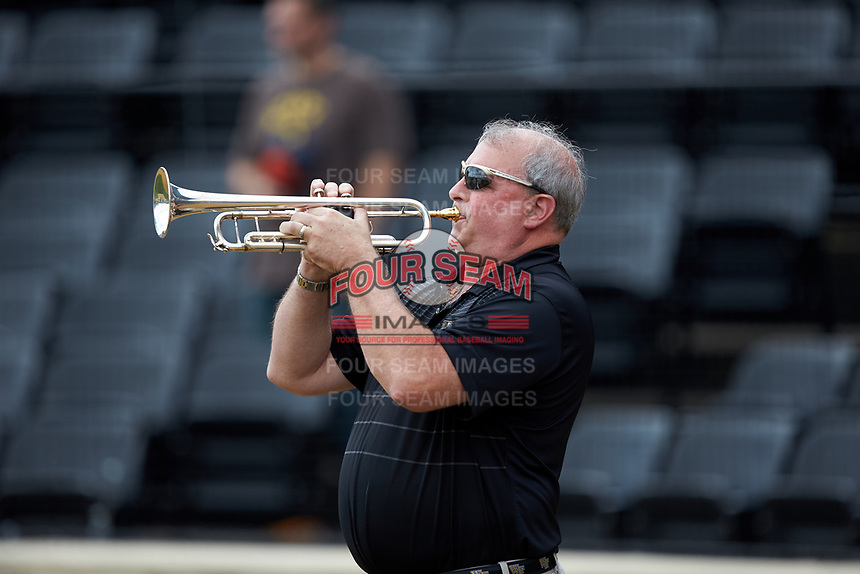 Wake Forest Director of Band Dr. Kevin Bowen plays the National Anthem prior to the NCAA baseball game between the Virginia Cavaliers and the Wake Forest Demon Deacons at David F. Couch Ballpark on May 19, 2018 in  Winston-Salem, North Carolina.  The Demon Deacons defeated the Cavaliers 18-12.  (Brian Westerholt/Four Seam Images)