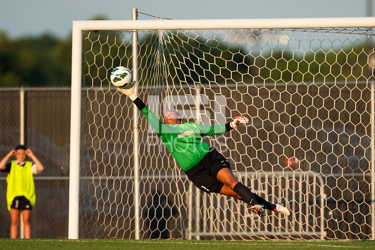 Sky Blue FC goalkeeper Brittany Cameron (1) makes a save during the first half against the Western New York Flash during a National Women's Soccer League (NWSL) match at Yurcak Field in Piscataway, NJ, on June 8, 2013.