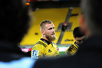 Hurricanes captain Brad Shields talks to his team after the Super Rugby match between the Hurricanes and Crusaders at Westpac Stadium in Wellington, New Zealand on Saturday, 10 March 2018. Photo: Dave Lintott / lintottphoto.co.nz