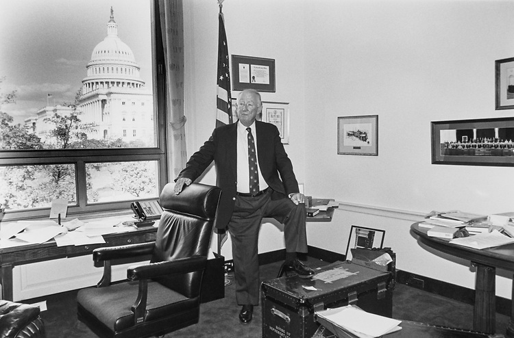Rep. Sam Gibbons, D-Fla. in the process of moving out of his highly sought after office, nabbed by Rep. Waxman in the lottery. The steamer trunk was a regular issue given to new members years ago. Nov. 12, 1996. (Photo by Maureen Keating/CQ Roll Call)