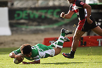 Manawatu's Tavita Taufui scores the first of his two tries during the Air NZ Cup rugby match between Manawatu Turbos and Counties-Manukau Steelers at FMG Stadium, Palmerston North, New Zealand on Sunday, 2 August 2009. Photo: Dave Lintott / lintottphoto.co.nz