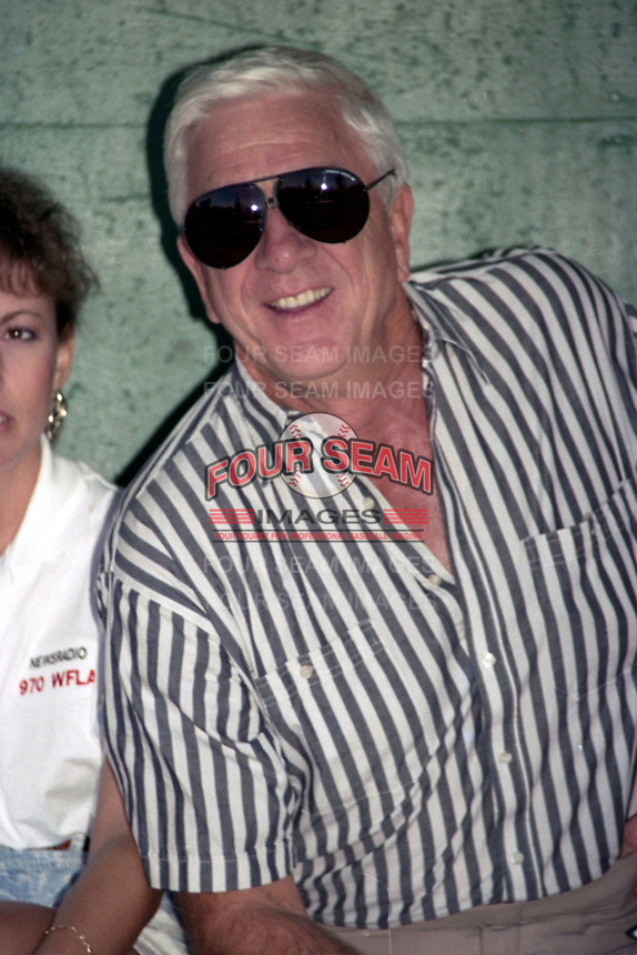 Actor Leslie Nielsen during the 1989 Wade Boggs Celebrity Weekend to benefit multiple sclerosis at Al Lang Stadium in St. Petersburg, Florida.  (MJA/Four Seam Images)