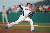 Tennessee Smokies starting pitcher Matt Loosen #30 delivers a pitch during a game against Huntsville Stars at Smokies Park on April 25, 2014 in Kodak, Tennessee. The Stars defeated the Smokies 15-1. (Tony Farlow/Four Seam Images)