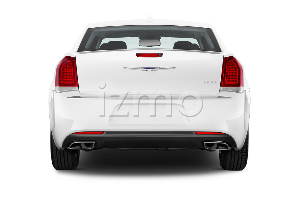 Straight rear view of 2017 Chrysler 300 Limited 4 Door Sedan Rear View  stock images