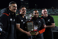 From left, Sonny Bill Williams, Anton Lienert-Brown, Ngani Laumape and Ryan Crotty with the Freedom Cup after the Rugby Championship match between the New Zealand All Blacks and South Africa Springboks at QBE Stadium in Albany, Auckland, New Zealand on Saturday, 16 September 2017. Photo: Shane Wenzlick / lintottphoto.co.nz