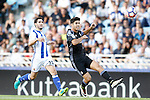 Real Sociedad's Joseba Zaldua (l) and Real Madrid's Marco Asensio during La Liga match. August 21,2016. (ALTERPHOTOS/Acero)