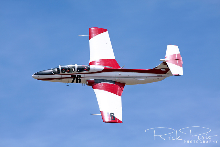 Czechoslovakian designed and built Aero Vodochody L-29 Delfin during a practice session at the 2010 Pylon Racing School at Stead Field in Nevada. The Delfin jet trainer was Czechoslovakia's first locally designed and built jet aircraft.