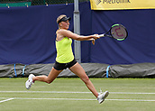 June 13th 2017, The Northern Lawn tennis Club, Manchester, England; ITF Womens tennis tournament; Magdalena Frech (POL) hits a forehand during her first round singles match against Harriet Dart (GBR); Frech won in three sets