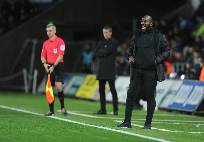 West Bromwich Albion manager Darren Moore shouts instructions to his team from the dug-out<br /> <br /> Photographer Kevin Barnes/CameraSport<br /> <br /> The EFL Sky Bet Championship - Swansea City v West Bromwich Albion - Wednesday 28th November 2018 - Liberty Stadium - Swansea<br /> <br /> World Copyright © 2018 CameraSport. All rights reserved. 43 Linden Ave. Countesthorpe. Leicester. England. LE8 5PG - Tel: +44 (0) 116 277 4147 - admin@camerasport.com - www.camerasport.com