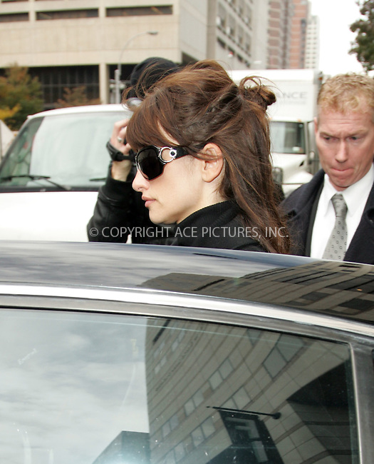 WWW.ACEPIXS.COM . . . . . ....November 13 2007, New York City....Penelope Cruz leaving the memorial service for show biz publicist Robert Garlock at the Walter Reade Theatre in the Lincoln Center in midtown Manhattan.....Please byline: DAVID MURPHY - ACEPIXS.COM.. . . . . . ..Ace Pictures, Inc:  ..(646) 769 0430..e-mail: info@acepixs.com..web: http://www.acepixs.com