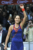 BOGOTA – COLOMBIA-06-12-2013: Ana Ivanovic, tenista de Serbia celebra al vencer a Maria Sharapova, tenista de Rusia durante partido de exhibición en el Coliseo El Campin en la ciudad de Bogota. / Ana Jancovic, Serbian Tennis player,celebrates to win to Maria Sharapova, Russian tennis player during an exhibition game in the Coliseo El Campin in  Bogota City. / Photo: VizzorImage / Luis Ramirez / Staff.