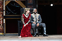 """Shakespeare's Globe presents """"Macbeth"""", by William Shakespeare, directed by Iqbal Khan.  Picture shows: Tara Fitzgerald (Lady Macbeth), Ray Fearon (Macbeth)"""
