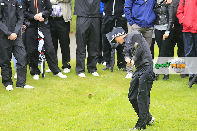 Li Haotong (CHN) plays his 2nd shot on the 17th hole during Thursday's Round 1 of the 2016 Dubai Duty Free Irish Open hosted by Rory Foundation held at the K Club, Straffan, Co.Kildare, Ireland. 19th May 2016.<br /> Picture: Eoin Clarke | Golffile<br /> <br /> <br /> All photos usage must carry mandatory copyright credit (&copy; Golffile | Eoin Clarke)