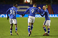 GOAL - celebrates scoring his side's equalising goal to make the score 1-1 with team mates during the Sky Bet League 1 match between Oldham Athletic and Bristol Rovers at Boundary Park, Oldham, England on 30 December 2017. Photo by Juel Miah / PRiME Media Images.