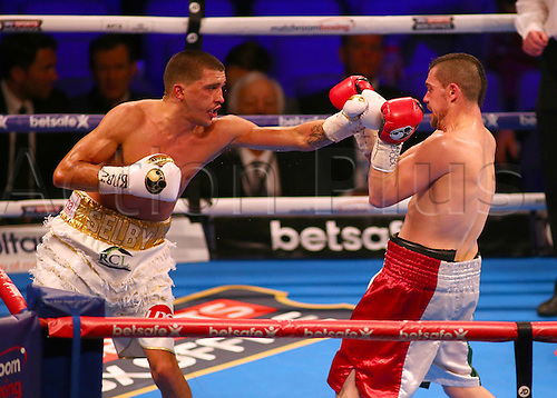 March 4th 2017, O2 Arena, London England; Heavyweight Boxing David Haye versus Tony Bellew; Lee Selby lands a left jab on Andoni Gago during the undercard IBF featherweigh