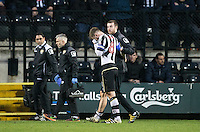 Michael O'Connor of Notts Co heads off the pitch after being handed a red card during the Sky Bet League 2 match between Notts County and Wycombe Wanderers at Meadow Lane, Nottingham, England on 10 December 2016. Photo by Andy Rowland.