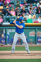Mark Zagunis (6) of the Iowa Cubs bats against the Salt Lake Bees in Pacific Coast League action at Smith's Ballpark on May 13, 2017 in Salt Lake City, Utah. Salt Lake defeated Iowa  5-4. (Stephen Smith/Four Seam Images)