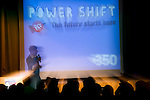 Ian Katz, Deputy Editor of the Guardian speaks to the crowd during the opening of Powershift. Among other things, he touched on the unique role of journalists to draw attention to the climate crisis. The UKYCC PowerShift Conference, held on Oct. 9-12, brought together over 250 young people from across the United Kingdom and the world to discuss climate change. The conference taught them how to  organize, build a social movement and take creative and intelligent action to tackle the climate crisis. Institute of Education, London, United Kingdom (2009 ©Robert vanWaarden)