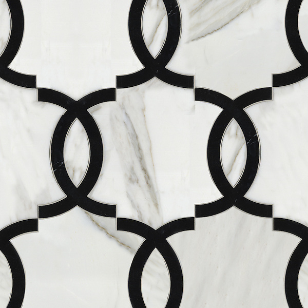 Seine, a waterjet stone mosaic, shown in polished Nero Marquina and Calacatta Tia, is part of the Silk Road collection by Sara Baldwin for New Ravenna.<br /> <br /> Take the next step: prices, samples and design help, http://www.newravenna.com/showrooms/