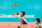 Mami Uchiseto of Japan passes the ball during the FIVB Volleyball Nations League Hong Kong match between Japan and Italy on May 29, 2018 in Hong Kong, Hong Kong. Photo by Marcio Rodrigo Machado / Power Sport Images