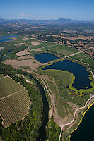 Aerial photograph Russian River at Healdsburg Sonoma Coast Pinot Noir vineyards