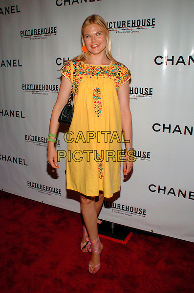 "KATE SHELTER.Chanel and Picturehouse Screening of ""La Vie En Rose"" at the Paris Theater, New York City, New York, USA,.31 May 2007..full length yellow patterned dress embroidered.CAP/ADM/BL.©Bill Lyons/AdMedia/Capital Pictures. *** Local Caption ***"