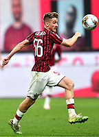 Alexis Saelemaekers of AC Milan during the Serie A football match between AC Milan and Atalanta BC at stadio Giuseppe Meazza in Milano ( Italy ), July 24th, 2020. Play resumes behind closed doors following the outbreak of the coronavirus disease. <br /> Photo Image Sport / Insidefoto