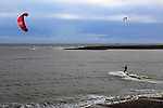 Kite surfing in North Sea at Shingle Street, Suffolk, England, UK