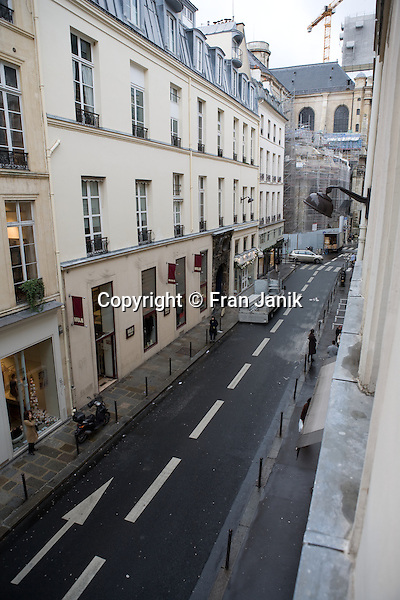 An early morning view of  rue Saint-Sulpice taken from the hotel Esprit Saint Germain,22 rue Saint-Sulpice in Paris France.
