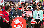 John Clarke speaks at the Press Conference before the Jobs, Justice and Climate march in Toronto. On July 5th more than 10,000 people gathered in Toronto, the traditional territories of the Missisauga peoples, for the March for Jobs, Justice and the Climate. The march told the story of a new economy that works for people and the planet. People marched for an economy that starts with justice, creates good work, clean jobs and healthy communities. The people recognize that we have solutions and we know who is responsible for causing the climate crisis. (Photo: Robert van Waarden)